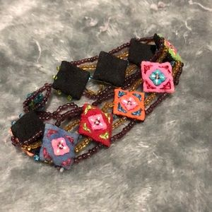 Cloth and beaded bracelet